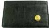 Custom leather wallet with gold metal debossed logo