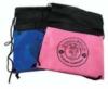 Drawstring bag with mesh top and logo