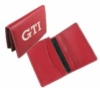 Red leather wallet with one color logo