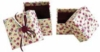 Art board boxes with fabric cover and ribbon accents