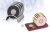 Round Stainless/Polymeric Rubber Coaster Set