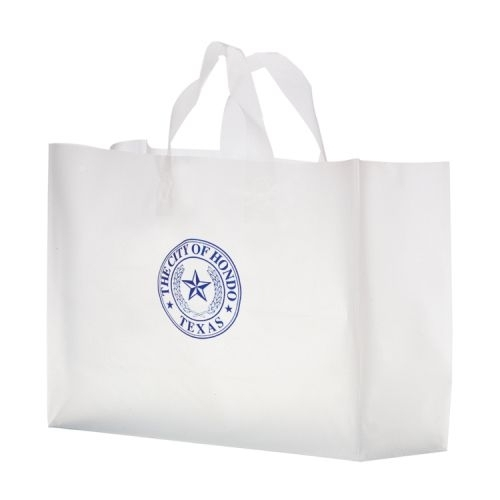 Clear Frosted Soft Loop Plastic Shopper Bag w/Insert (16