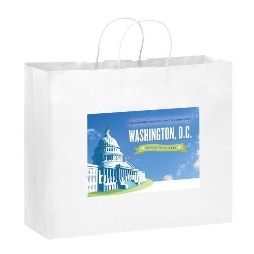 White Kraft Paper Shopper Tote Bag w/ Full Color (16