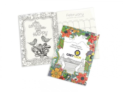 Travel Size 12 Image Monthly Coloring Planner
