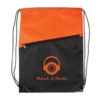 Two-Tone Poly Drawstring Backpack with Zipper