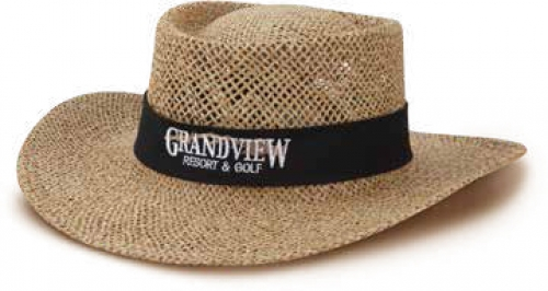 Golfer Profile Paper Straw Hat w/Brim Lining