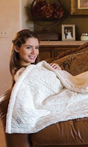 Premium Cable Knit Cotton Throw