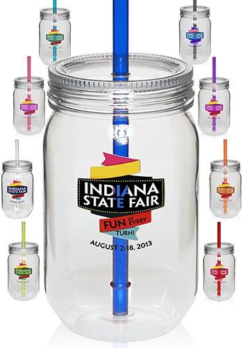 24 oz Plastic Mason Jar with Straw