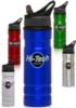 27.25 oz Logo Aluminum Water Bottle with Straw