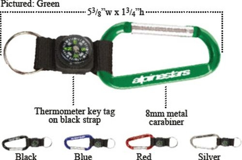 Carabiner with Compass Key Tag