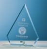 Beveled Jade Glass Arrow Award