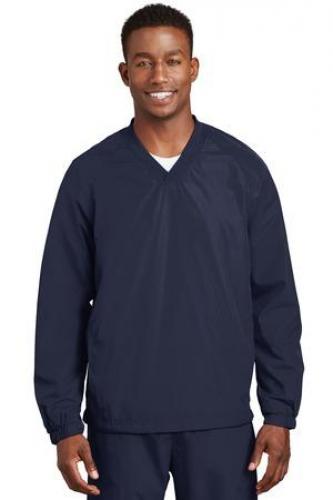 Sport-Tek V-Neck Raglan Wind Shirt.