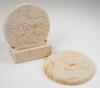 2-Pc Round Limestone-Texture Coaster Set w/Base