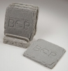4-Pc Square Slate-Texture Coaster Set w/Base