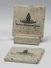 2-Pc Square Travertine-Texture Coaster Set w/Base w/Wash