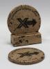 2-Pc Round Travertine-Texture Coaster Set w/Base w/Wash