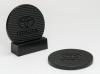 2-Pc Round Carbon Fiber-Textured Coaster Set w/Base