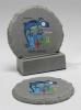 2-Pc Round Chiseled Edge Coaster Set w/Base