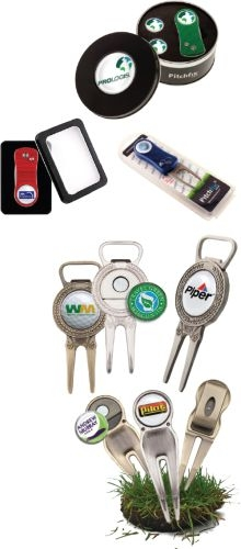 Golf Divot Tool w/ Belt Clip and Full Color Ball Marker