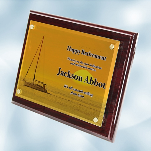 Color Imprinted Photo Floating Acrylic on Rosewood Piano Finish Horizontal/Vertical Wall Plaque (S)