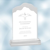 Clear Frosted White Cap Edge Acrylic Award - Small