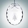 Gem-Cut Oval Ornament | Clear Glass
