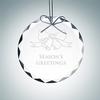 Gem-Cut Circle Ornament | Clear Glass