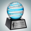 Art Glass Blue Jupiter Award with Black Base and Silver Plate
