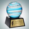Art Glass Blue Jupiter Award with Black Base and Gold Plate