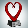 Art Glass The Whole Heart Award with Black Base and Silver Plate
