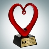 Art Glass The Whole Heart Award with Black Base and Gold Plate