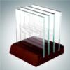 Square Glass Coaster Set   Jade Glass,Wood