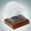 Circle Glass Coaster Set   Jade Glass,Wood