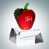 Red Apple with Clear Crystal Base | Molten Glass, Optical Crystal