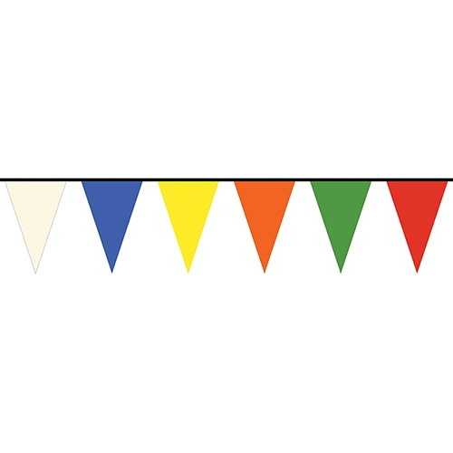 30' Multi-Colored 8 Mil Polyethylene Pennant Strings