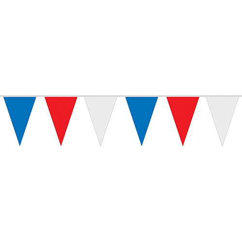 30' Red, White & Blue 8 Mil Polyethylene Pennant Strings