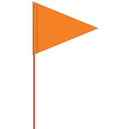 Solid Color Flo Orange Pennant Field Flag w/Orange Staff