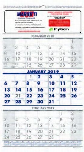 3-Month View Wall Calendar (13