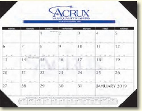 Contractors Style Desk Pad Calendar w/2-Leatherette Corners