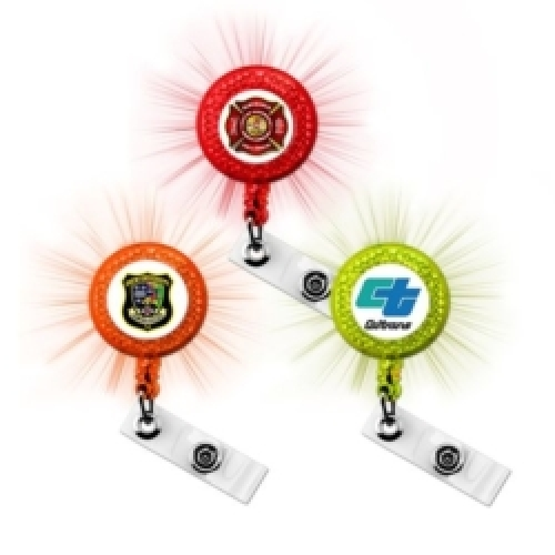Express Vibraprint™ Reflective Badge Reel with Belt Clip