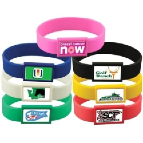 Silicone Wristband with Large Vibraprint™ Patch (3/4