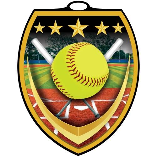 Vibraprint™ Shield Softball Medallion (3