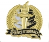Bright Gold Academic Perfect Attendance Lapel Pin (1-1/8