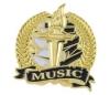 Bright Gold Academic Music Lapel Pin (1-1/8