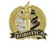 Bright Gold Academic Robotics Lapel Pin (1-1/8