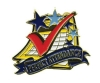 Bright Gold Educational Perfect Attendance Lapel Pin (1-1/8