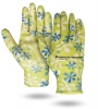 Flower Print Palm Dipped Gloves