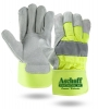 Hi-Viz Suede Cowhide Leather Palm Gloves