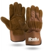 Brown Suede Cowhide Leather Palm Gloves