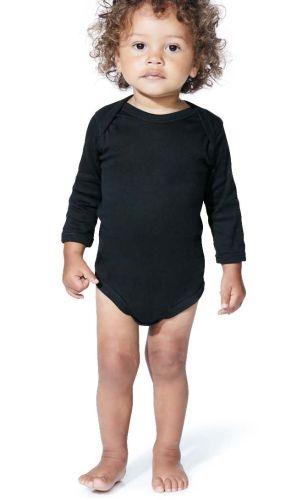 Infant Long Sleeve Baby Rib Bodysuit - Black